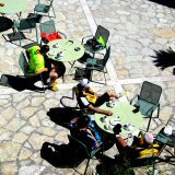 Majorca Cyclists relaxing in Arta in late Spring